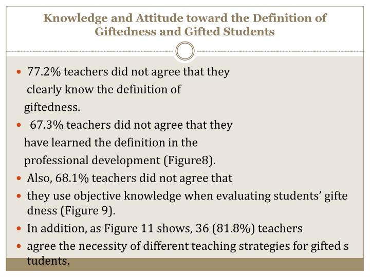 Knowledge and Attitude toward the Definition of Giftedness and Gifted Students