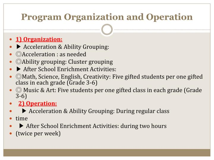 Program Organization and Operation