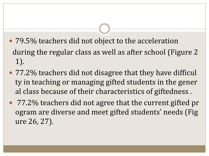 79.5% teachers did not object to the acceleration