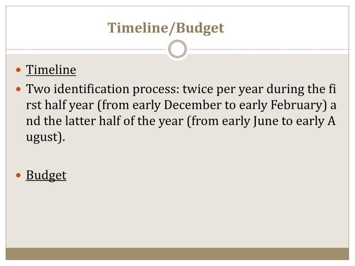 Timeline/Budget