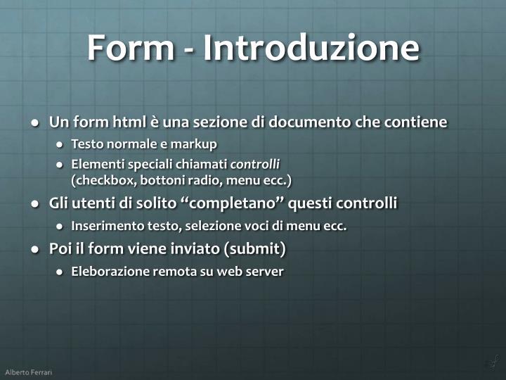Form - Introduzione