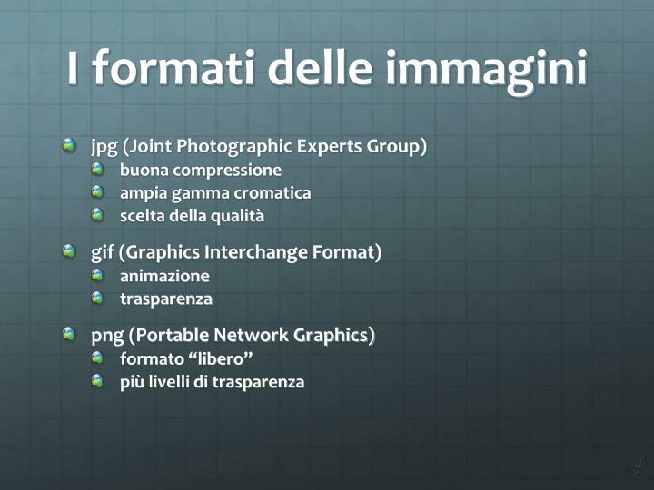 I formati delle immagini