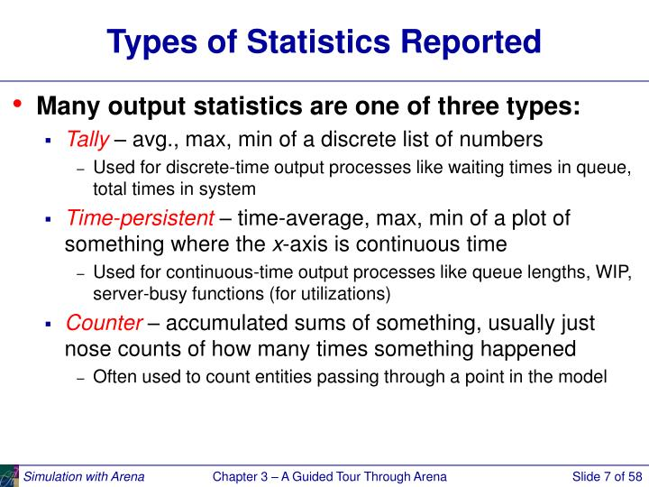 Types of Statistics Reported