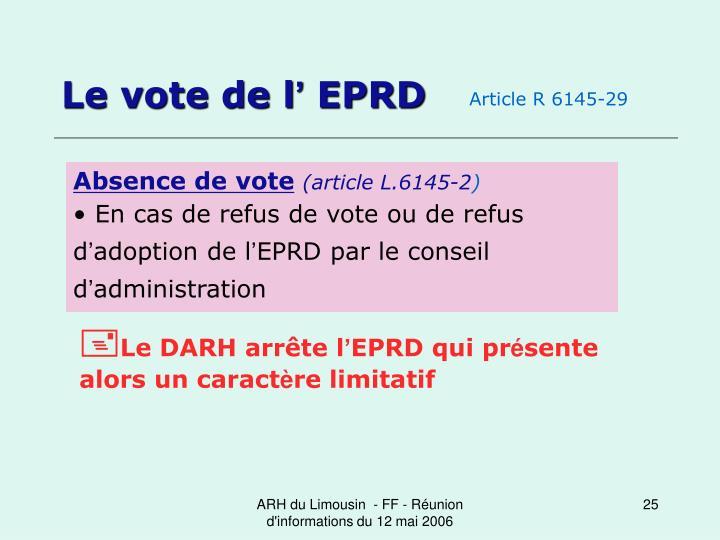 Le vote de l