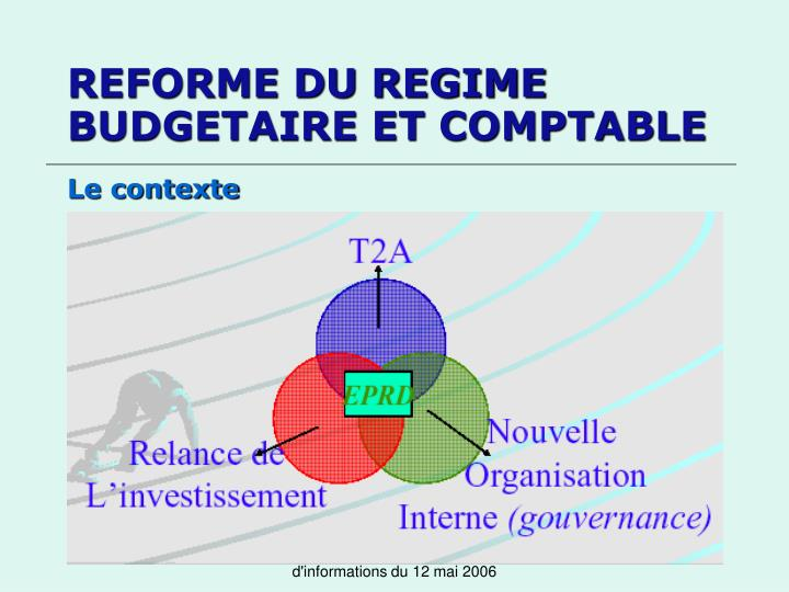 REFORME DU REGIME BUDGETAIRE ET COMPTABLE