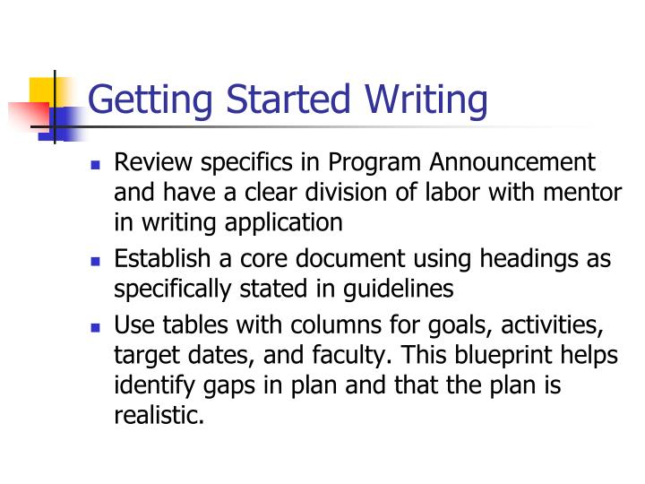 Getting Started Writing