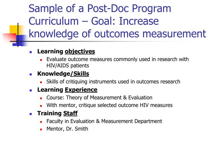 Sample of a Post-Doc Program