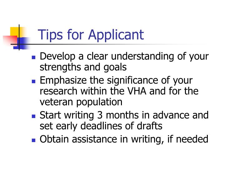 Tips for Applicant
