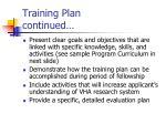 training plan continued