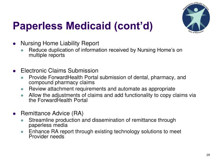 Paperless Medicaid (cont'd)