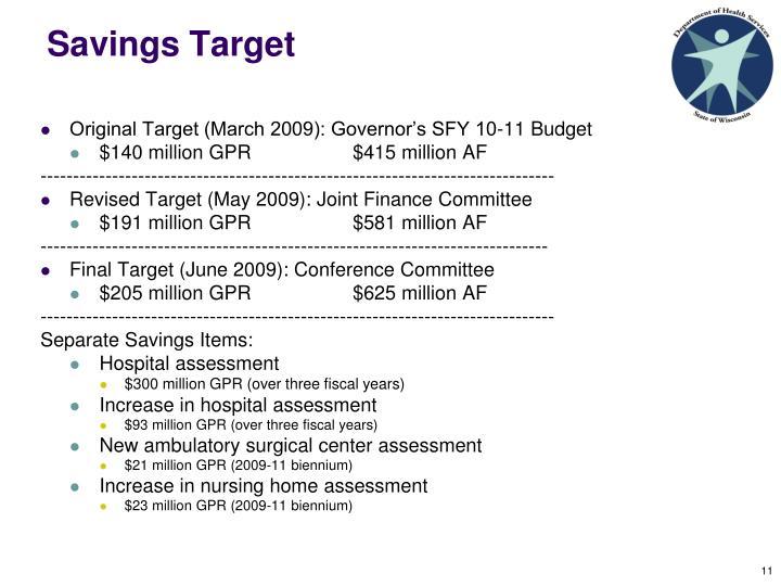 Savings Target