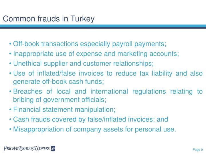 Common frauds in Turkey