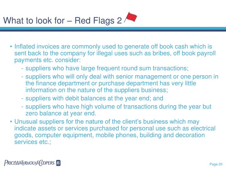 What to look for – Red Flags 2