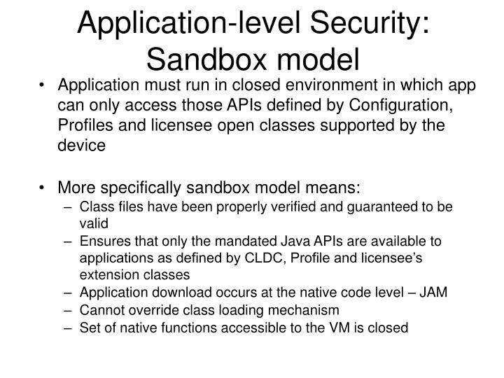 Application-level Security: Sandbox model