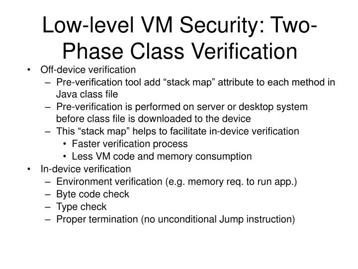 Low-level VM Security: Two-Phase Class Verification