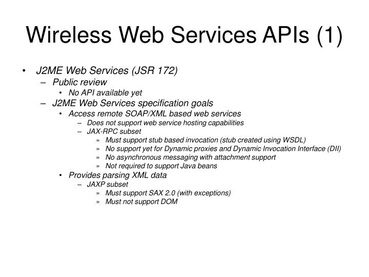 Wireless Web Services APIs (1)