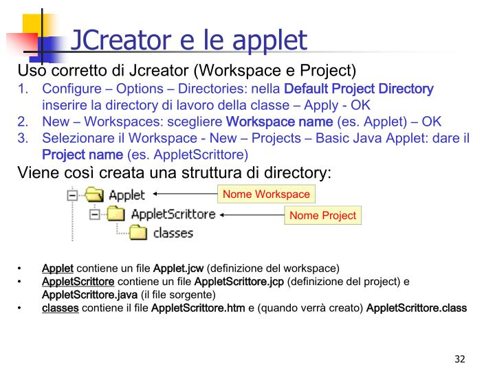 JCreator e le applet