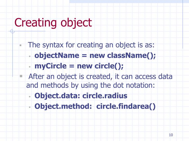 Creating object