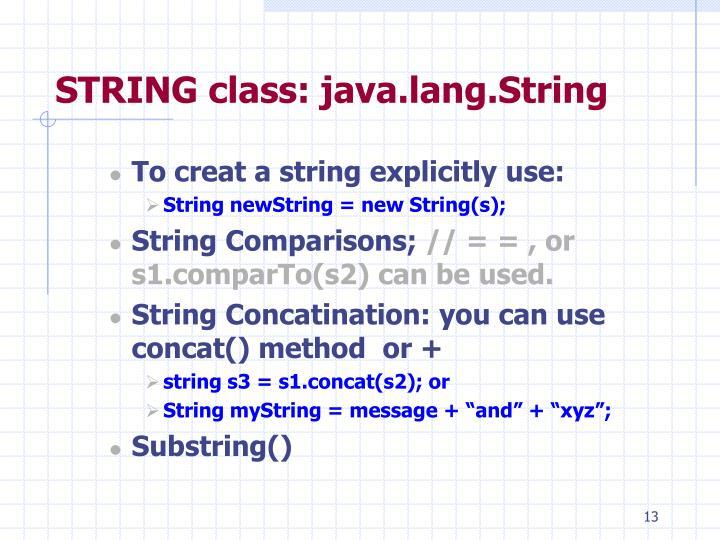 STRING class: java.lang.String