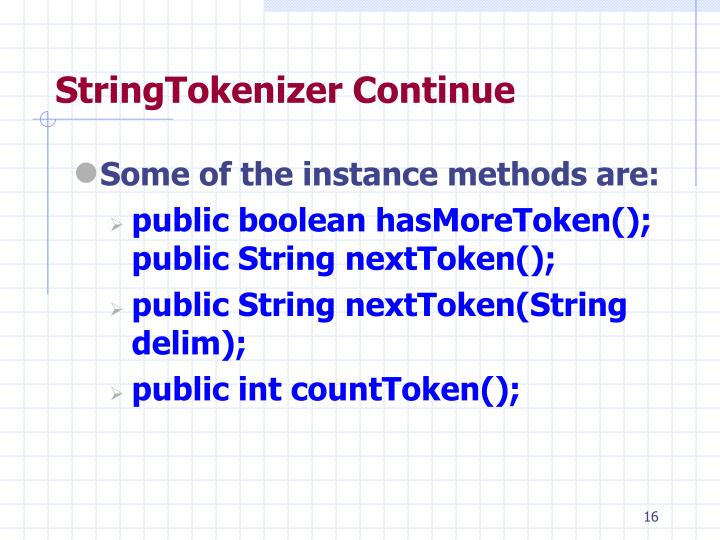 StringTokenizer Continue