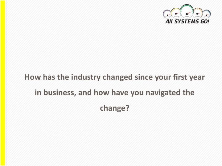 How has the industry changed since your first year in business, and how have you navigated the change?