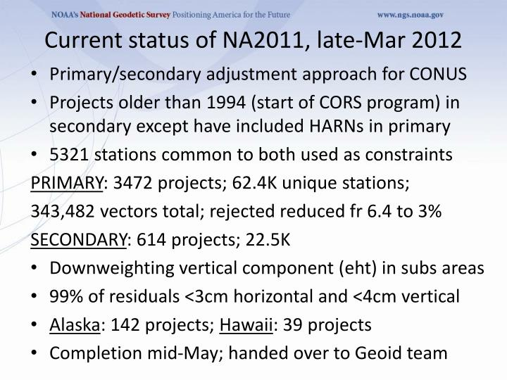 Current status of NA2011, late-Mar 2012