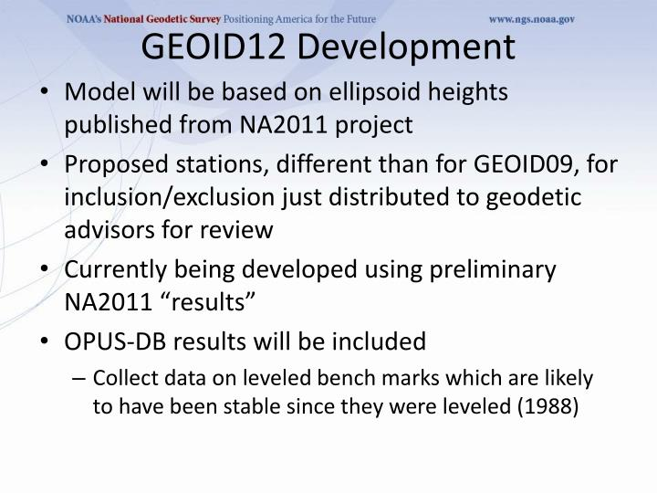GEOID12 Development