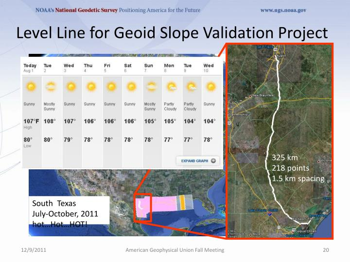 Level Line for Geoid Slope Validation Project
