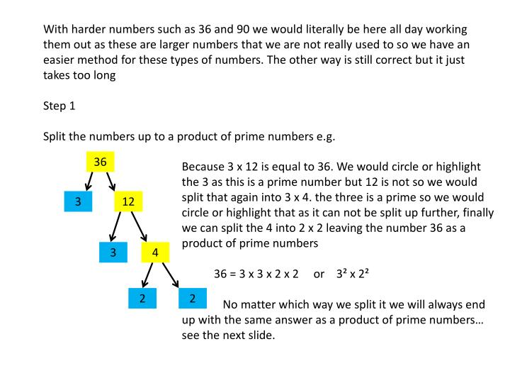 With harder numbers such as 36 and 90 we would literally be here all day working them out as these are larger numbers that we are not really used to so we have an easier method for these types of numbers. The other way is still correct but it just takes too long