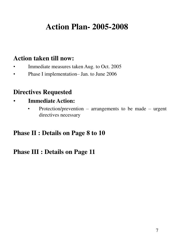 Action Plan- 2005-2008