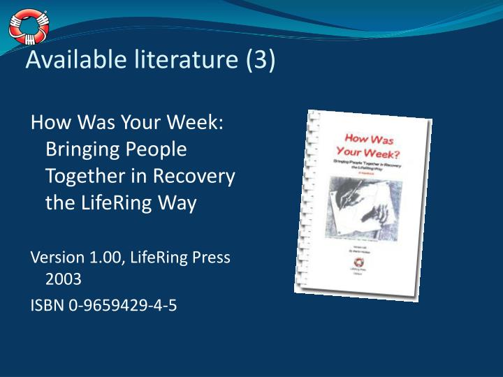 Available literature (3)