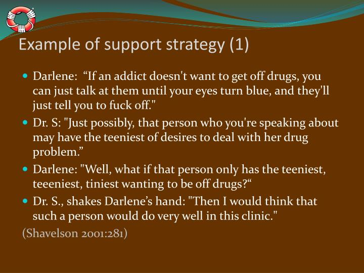 Example of support strategy (1)