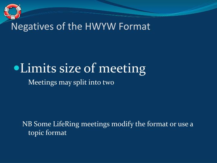 Negatives of the HWYW Format