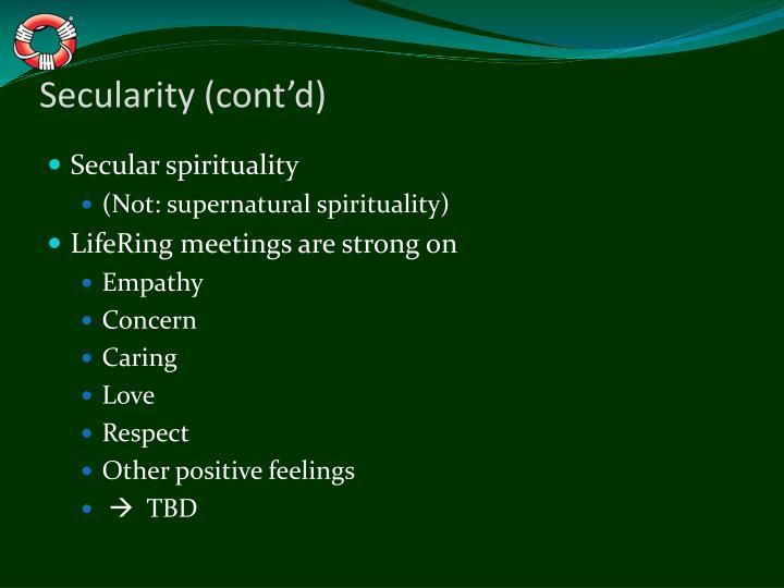 Secularity (cont'd)