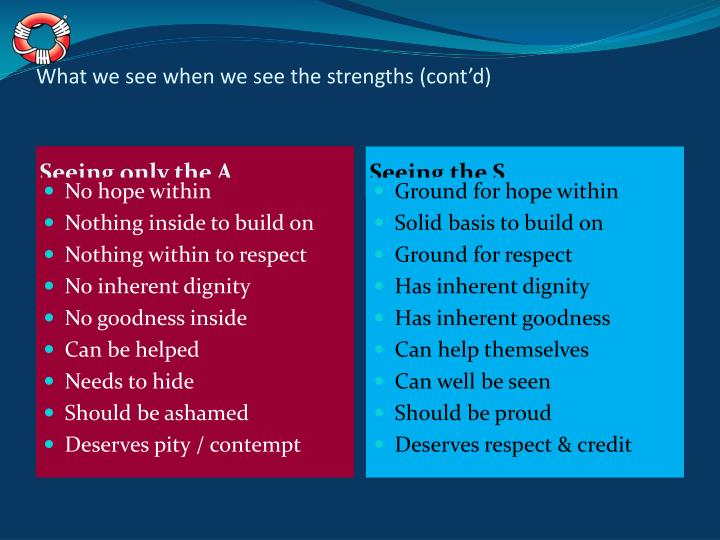 What we see when we see the strengths (cont'd)