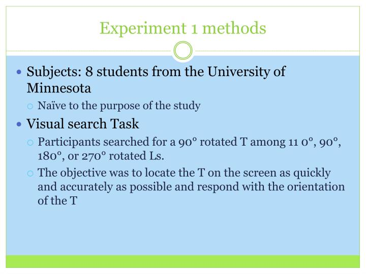 Experiment 1 methods
