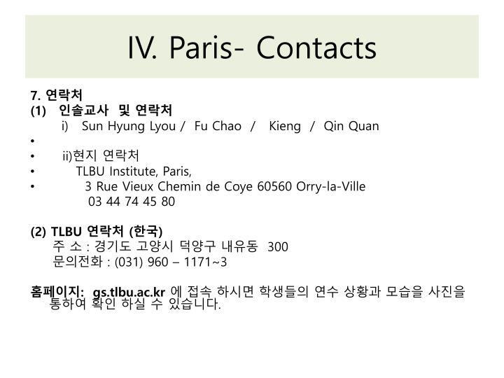 IV. Paris- Contacts