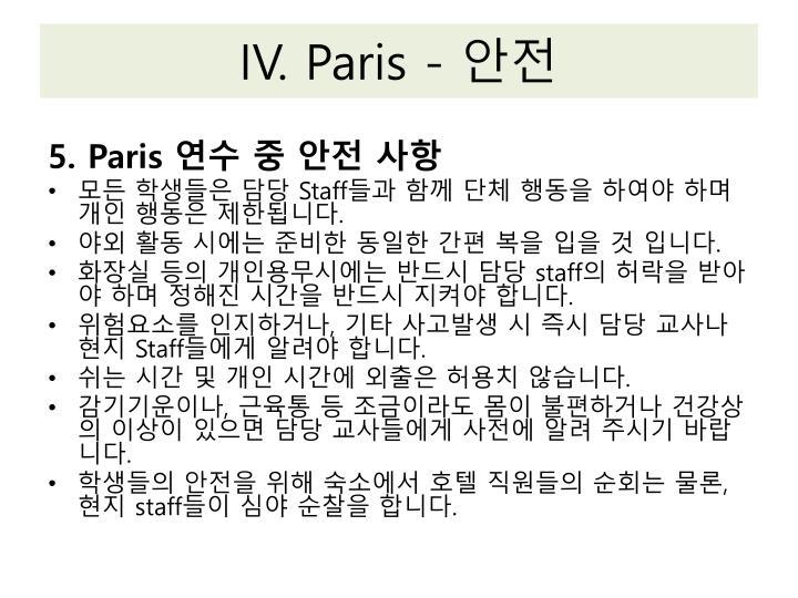 IV. Paris -