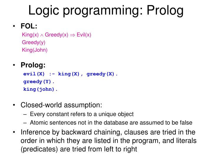 Logic programming prolog