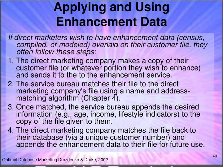 Applying and Using Enhancement Data