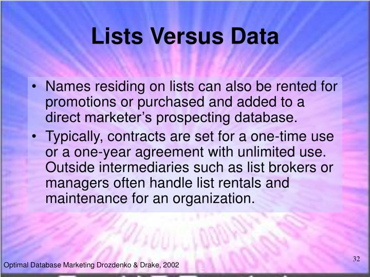 Lists Versus Data