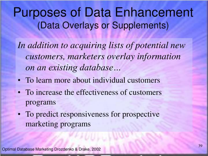 Purposes of Data Enhancement