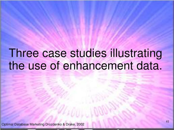 Three case studies illustrating the use of enhancement data.