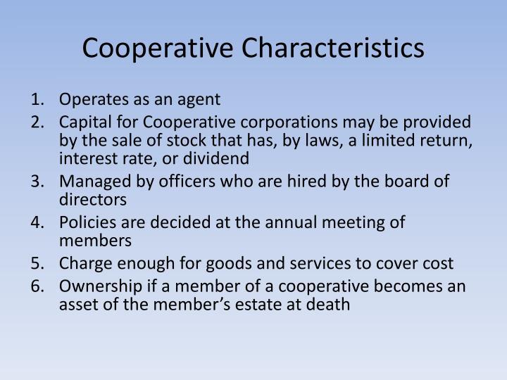 Cooperative Characteristics
