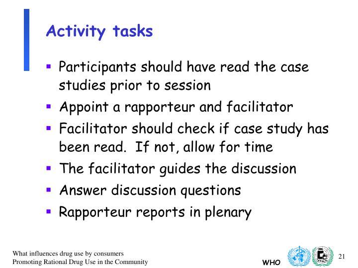 Activity tasks