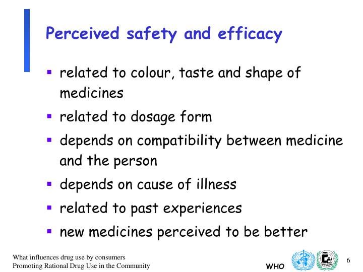 Perceived safety and efficacy