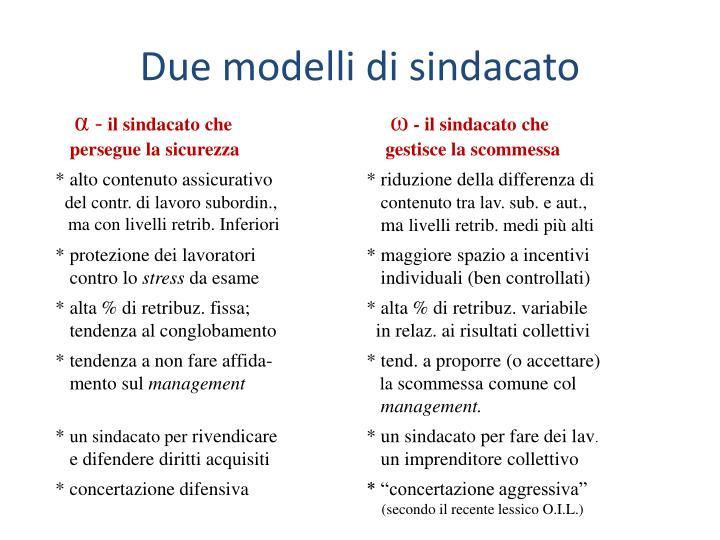 Due modelli di sindacato