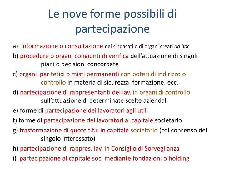 Le nove forme possibili di partecipazione