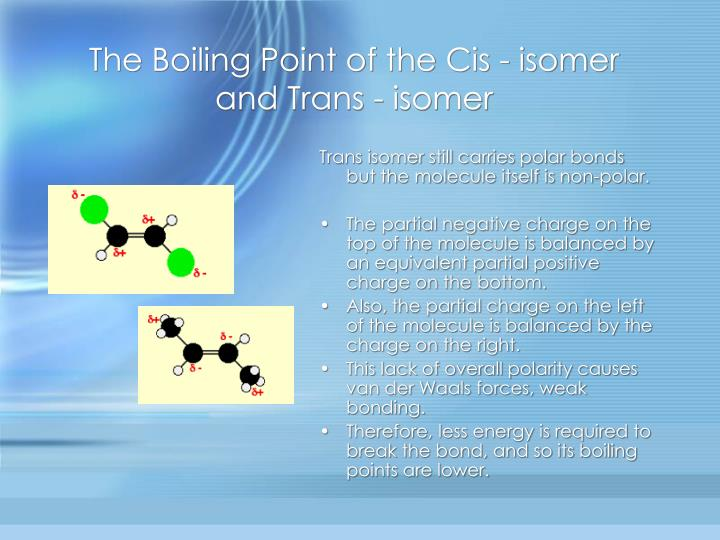 The Boiling Point of the Cis - isomer and Trans - isomer