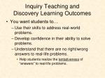 inquiry teaching and discovery learning outcomes
